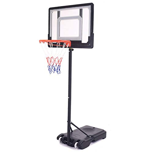 ZAQI Basketballständer In-Ground Basketball Goal, Indoor Outdoor Garage Tragbarer, professioneller Basketballkorb for Kinder, Jugendliche, Kinder, Schwarz