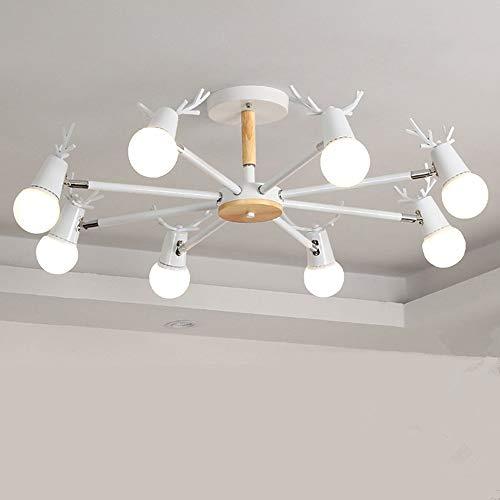 Rotwild-kop-plafondlamp, Nordic 3/6/8 LED cartoon zwart/wit, ijzer, hout decoratieve kroonluchter plafondlamp woonkamer slaapkamer werkkamer multi-kop-plafondlamp
