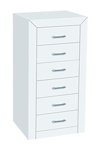 Dogar Kynus Lacado - Chifonier de 6 cajones, 105 x 55 x 40 cm, color blanco
