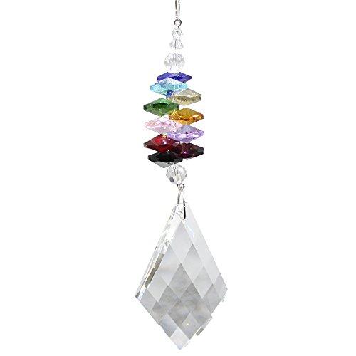 Set raamdecoratie kristal slinger ruit met kleurrijke kristallen stenen regenboogkristal Feng Shui mobiele lengte 60 cm om op te hangen