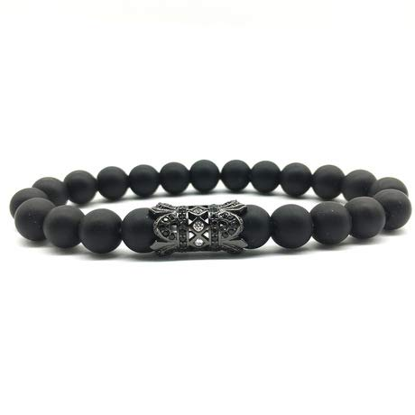 Wuligeya Elastische armband 8mm natuursteen microset diamanten bal boot anker koper kraal set armband Boeddha kralen