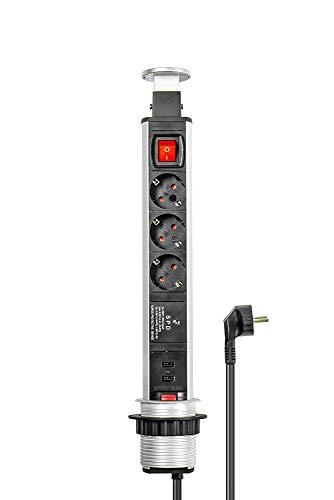 Pop-Up Stekkerdoos 3+2, verzonken stekkerdoos, schakelaar, aluminium profiel, 3x beveiligde contactdoos, 2x USB, ÜSS/SPD