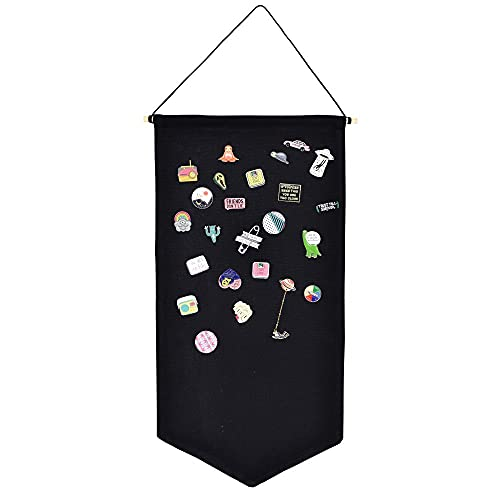 Wall Hanging Brooch Jewelry Storage Case Canvas Display Stand Enamel Pin Display Banner Holder Earrings Necklace Glitter Pin Collection Organizer (Black)