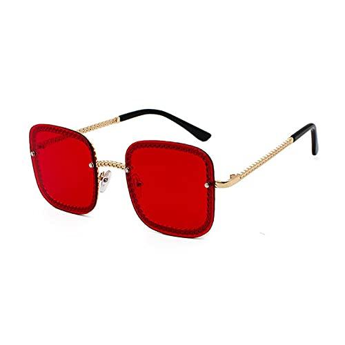 Gafas De Sol Gafas De Sol Sin Montura De Lujo Unisex Moda para Mujer Gafas De Sol Cuadradas Famosas para Mujer Gafas De Sol De Gran Tamaño para Mujer C4Gold-Red