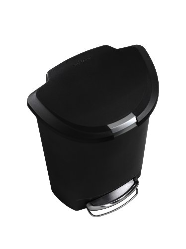 simplehuman 50 Liter / 13 Gallon Semi-Round Kitchen Step Trash Can, Black Plastic With Secure Slide Lock