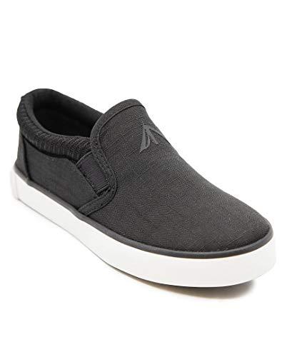 Nautica Kid's Slip-On Casual Shoe Athletic Sneaker Youth Toddler-Bennett-Black-1