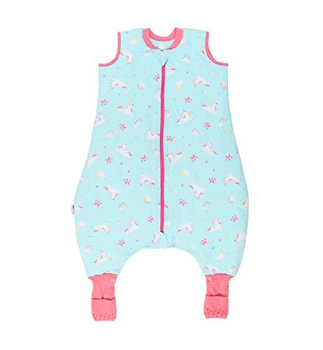 Schlummersack Babyschlafsack mit Füssen und verlängerten Bündchen zum Umklappen für den Winter in 3.5 Tog - Einhorn - 90 cm