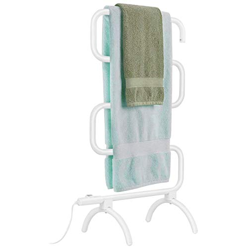 Tangkula Towel Warmer, Home Bathroom 100W Electric 5-Bar Towel Drying Rack, Freestanding and Wall Mounted Design Towel Hanger, Towel Heater, White (23