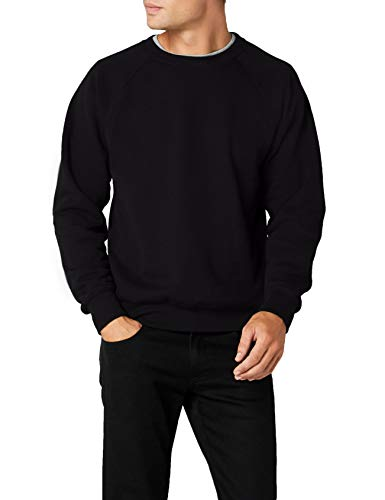 Fruit of the Loom Raglan Sweatshirt, Felpa Uomo, Nero (Black), Medium