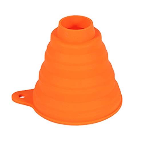 POHOVE Silicona Plegable Embudo para Botes, Embudos para Relleno Botellas, Plegable Embudo Boca Ancha Líquido Adhesivo para Y Regular Botes - Naranja, Free Size