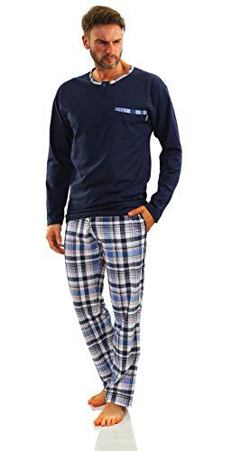 Sesto Senso Herren Schlafanzug Lang Pyjama 100% Baumwolle Langarm Shirt mit Tasche Pyjamahose Zweiteilig Set Nachtwäsche Dunkelblau Blau Kariert XXL Jasiek 2188/17