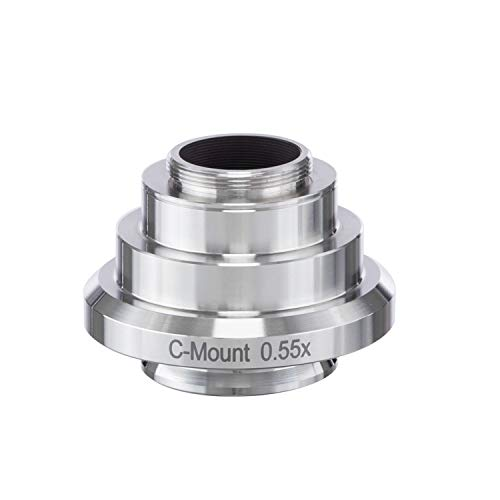 AmScope AD-C05-LC 0.55X Stainless Steel C-Mount Camera Adapter for Leica Microscopes