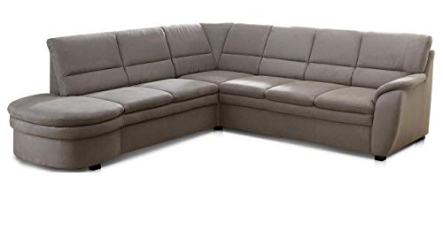 Cavadore Ecksofa Gingle mit Ottomane links / Sofa mit Federkern, Relaxfunktion, Bettfunktion und hochwertigem Mikrofaser-Bezug in Wildlederoptik / Klassisches Design / 260 x 89 x 240 / Grau