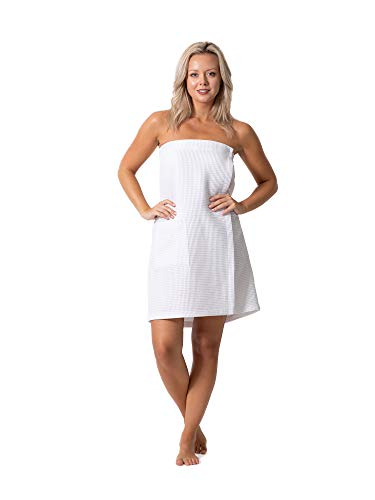 Quick Dry, Lightweight Waffle Spa/Bath Wrap with Adjustable Closure & Elastic Top (White, L/XL)