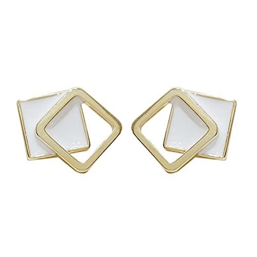 HehiFRlark Pendientes de Moda Simples con Gancho Cuadrado geométrico de aro de Acero Inoxidable para Mujeres y niñas (Oro)