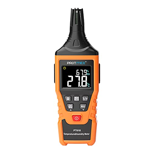 Protmex PT618 Temperature Humidity Meter Thermometer Hygrometer Thermometer Hygrometer Monitor with Ambient,Dew Point, Wet Bulb for Indoor/Outdoor min max Hold LCD Backlight