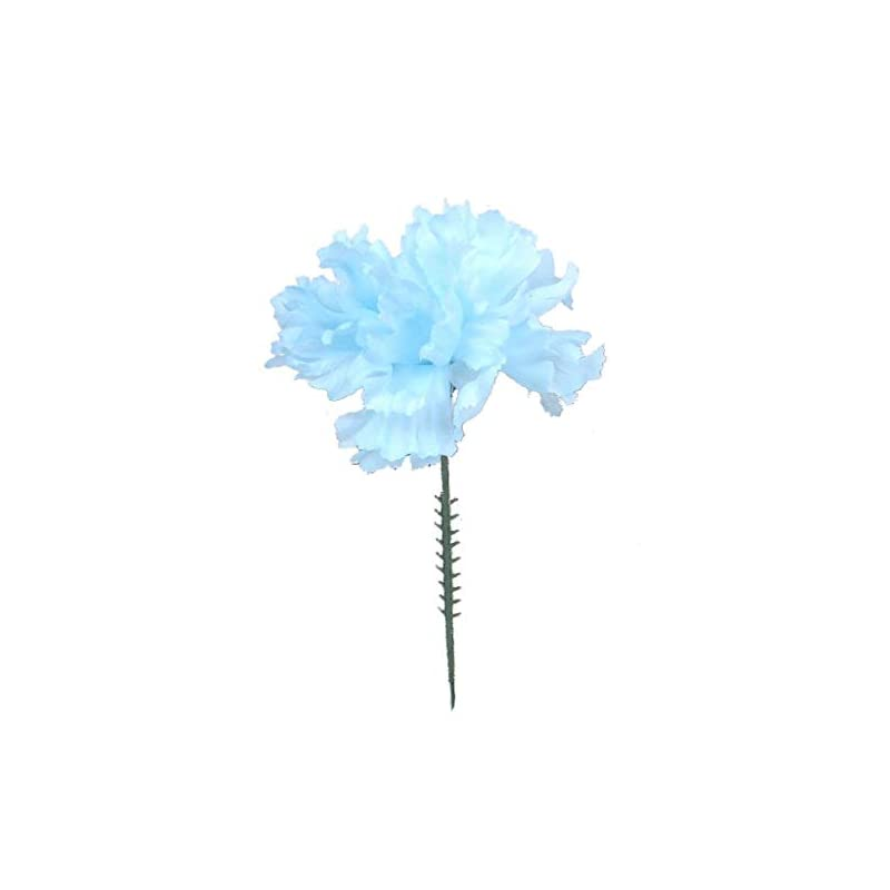 "silk flower arrangements larksilk blue silk carnation picks, artificial flowers for weddings, decorations, diy decor, 100 count bulk, 3.5"" carnation heads with 5"" stems"