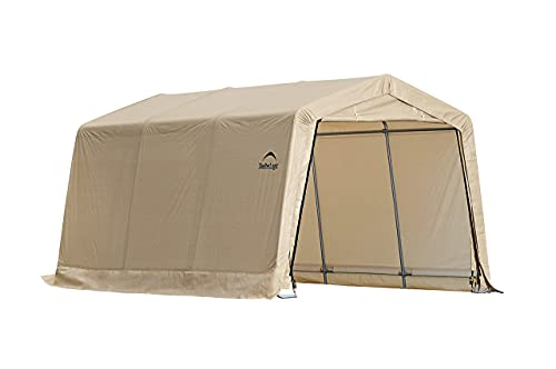 ShelterLogic 10' x 15' x 8' All-Steel Metal Frame Peak Style Roof Instant Garage and AutoShelter with Waterproof and UV-Treated Ripstop Cover, Sandstone