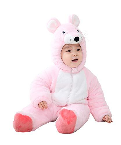 Doladola Kleinkinder Babys Fleece-Overall mit Kapuze für den Winter, dick, Outwear mit Kapuze für Baby Jungen und Mädchen Gr. 24-30 Monate, rose