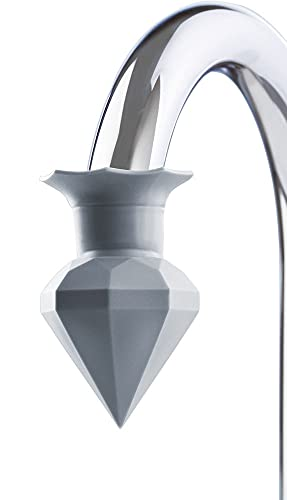 """WENKO Entkalker """"Diamant"""", Aufsatz zum Entkalken, Wasserhahn, Entkalkungsflüssigkeit, für handelsübliche Wasserhähne, Silikon, Ø 5 cm Höhe 7 cm, grau"""