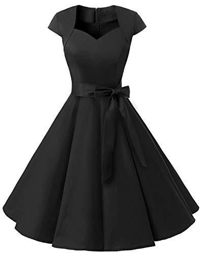 MuaDress 1960 Damen Vintage 50er Rockabilly Retro Kleider Eleganter Faltenrock mit Flügelärmeln Schwarz XS