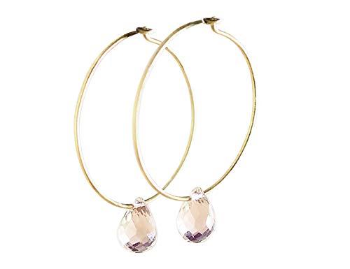 Aros de Oro con Cuarzo Rosa - Pendientes Piedra Semipreciosa para Mujer