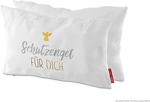 Bavaria Home Style Collection Baumwoll-Kissen - Deko - Zierkissen - Kuschelkissen - mit Spruch Sprüchen - Tier-Motiv - Geschenk Idee zu Muttertag, Ostern (Schutzengel weiß)