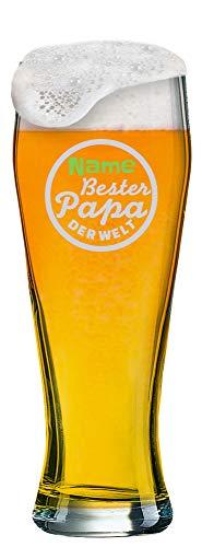 Weizenglas mit [Name] als individuelle Gravur zum Vatertag - Auswahl aus 6 Motiven + Wunschname Ihrer Wahl auf 0,5 l Weißbierglas graviert. (Motiv 04)