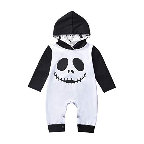 Weilov Automne et hiver Garçons Halloween Cartoon Barboteuse Enfants Crâne Imprimer Capuche Jumpsuit Vêtements Bébé Loisir Barboteuse Infant Confortable