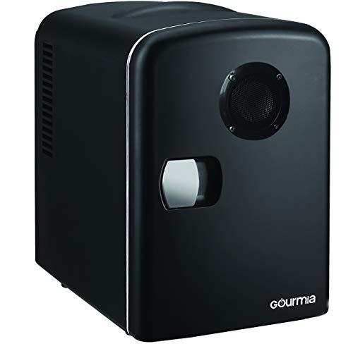 Gourmia GMF668 Thermoelectric Mini Fridge Cooler and Warmer with Bluetooth Speaker - 4 Liter/6 Can - For Home,Office, Car, Dorm or Boat - Compact & Portable - AC & DC Power Cords - Black