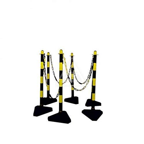 Kettingstandaard set van kunststof I 6 geel-zwarte kettingpalen met 3 kg bodemplaat, ogen & 10 meter afsluitketting