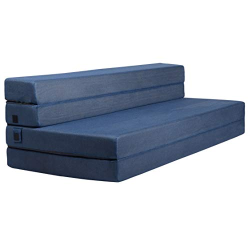 Milliard Tri-Fold Foam Folding Mattress and Sofa Bed for Guests - Queen 78x58x4.5 Inch (Navy)