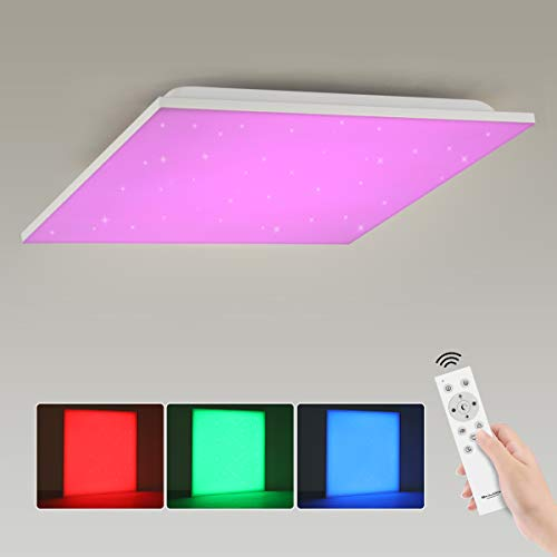 Led Panel Deckenleuchte Dimmbar RGB Farbwechsel mit Fernbedienung, 15W Sternenhimmel Deckenlampe Warmweiss zu kaltweiss 3000K-6500K, 30x30cm Quadratisch Weiß Modern