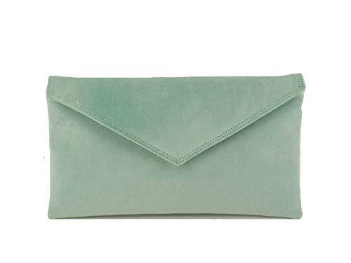 Loni Neat Umschlag Faux Wildleder Clutch Bag/Schultertasche in (sehr hellgrünen)