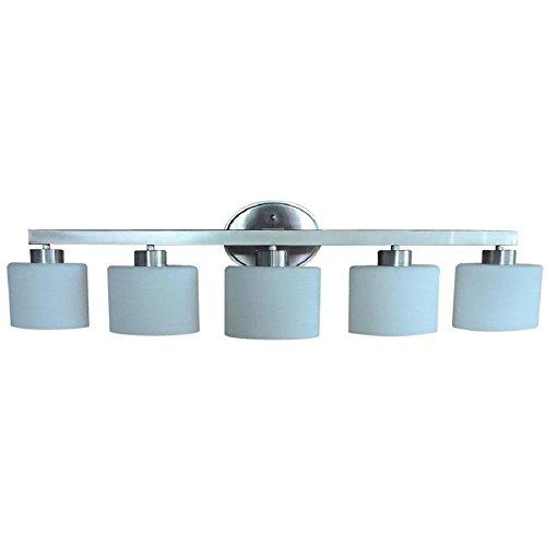 allen + roth Merington 5 Light Brushed Nickel Vanity Light Bar Bathroom Lighting Fixture, 9-in