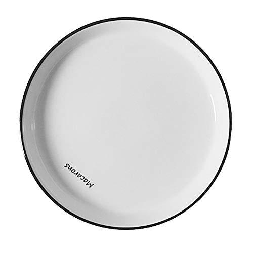 YLMF Disco Creativo Simple de 8 Pulgadas, Plato Plano de cerámica Engrosado para el hogar, Apto para lavavajillas y microondas, apilable, fácil de Limpiar y de Alta Temperatura, (20,5 cm × 2,6 cm)