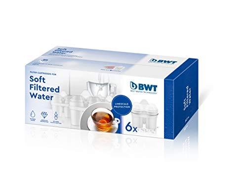 BWT Filterkartusche Soft Filtered Water - Kalkschutz & mehr Genuss - passt in BWT und Brita Tischwasserfilter - 6 Stück im Set