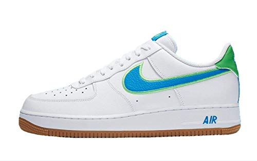 Nike Air Force 1 '07 LV8, Zapatillas de básquetbol para Hombre, White Lt Photo Blue Poison Green Gum Lt Brown, 48.5 EU