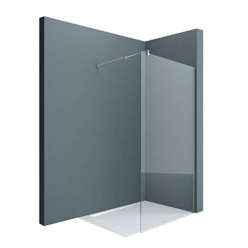 doporro Luxus Duschwand Duschabtrennung Bremen1K 140x200 Walk-In Dusche mit Stabilisator aus Echtglas 8mm ESG-Sicherheitsglas Klarglas inkl. Nanobeschichtung