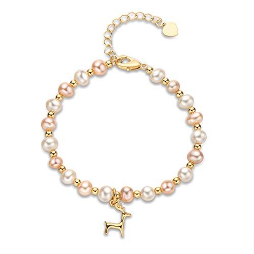 siqiwl Bracelet 14K Gold Filled Bracelet 5.5-6.5mm Natural Freshwater Oval Pearl Lucky Elk Charm Bracelet Women Anniversary Moose Jewelry