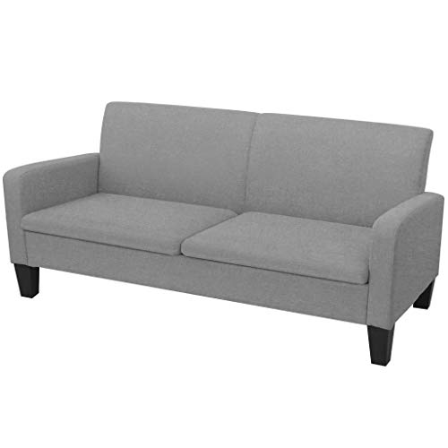 vidaXL Sofa 3-Sitzer Hellgrau Couch Stoffsofa Polstersofa Loungesofa Sitzmöbel