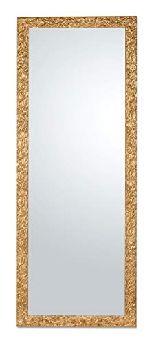 MO.WA Specchio da Parete Cornice Classica Legno Oro Antico Misura Esterna cm. 55x145. da Appendere Verticale/Orizzontale.Made in Italy.
