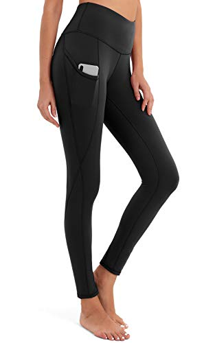 BROMEN Women's High Waisted Yoga Pants with Pockets Leggings for Women Buttery Soft Work Out Pants Tummy Control Black L