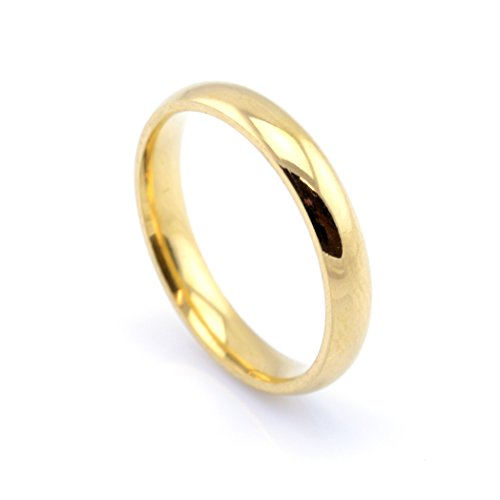 Vault 101 Limited 18k Gold Plated Men's Women's Stainless Steel Wedding Band Ring (4mm Wide - Size Z)