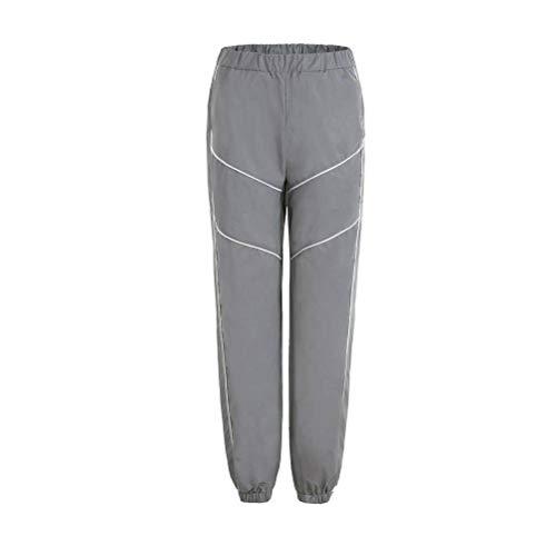 JUSTTIME Street Casual broek Spring Sprouts reflecterende krimpbroek vrouwelijke stralende broek Small zilver-grijs