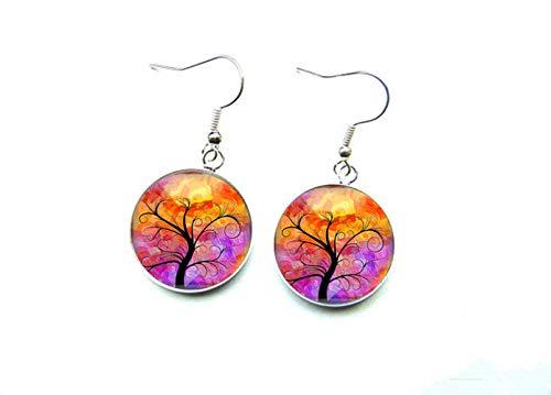 Sunshine Exquisito colgante de moda, pendientes de árbol de la vida de colores, joyas de vidrio, regalo para ella
