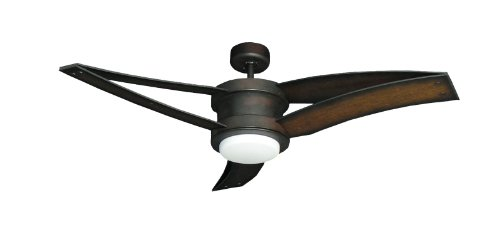 TroposAir Triton II Ceiling Fan in Oil Rubbed Bronze with 52' Distressed Walnut Blades, Integrated Light and Remote
