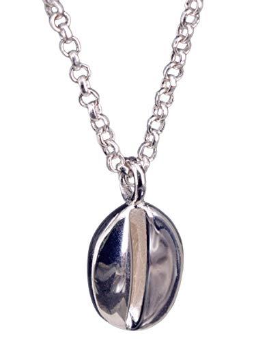 NicoWerk Damen Silberkette mit Anhänger Kaffeebohne aus 925 Sterling Silber Verspielt Glatt SKE362