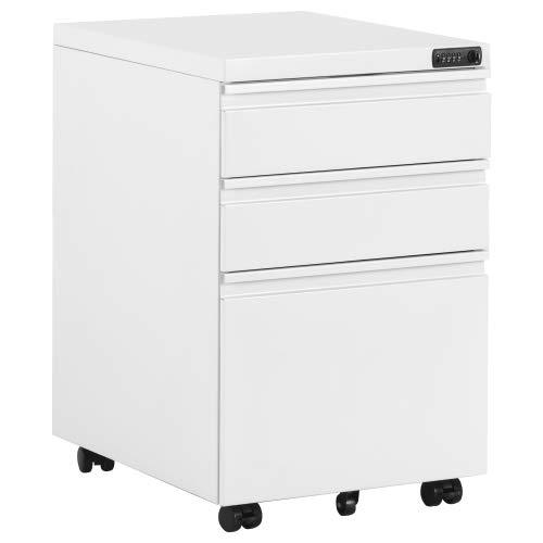 Rollcontainer, Bürocontainer mit Zahlenschoß inkl. 3 Schubladen, grundsolide Verarbeitung, optimal für Schreibtisch, Büromöbel, Container, Rollkontainer Büro, Rollkontainer mit Schubladen