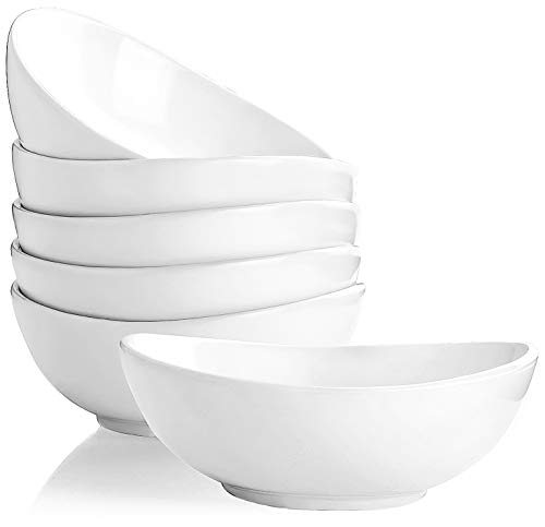 Porcelain Bowls, KOMUEE 16 Ounce Porcelain Bowls for Cereal, Salad, Dessert - Set of 6, White